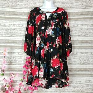 Lightweight Black Floral Print Tunic